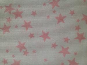 Piqué blanco estrellas rosas