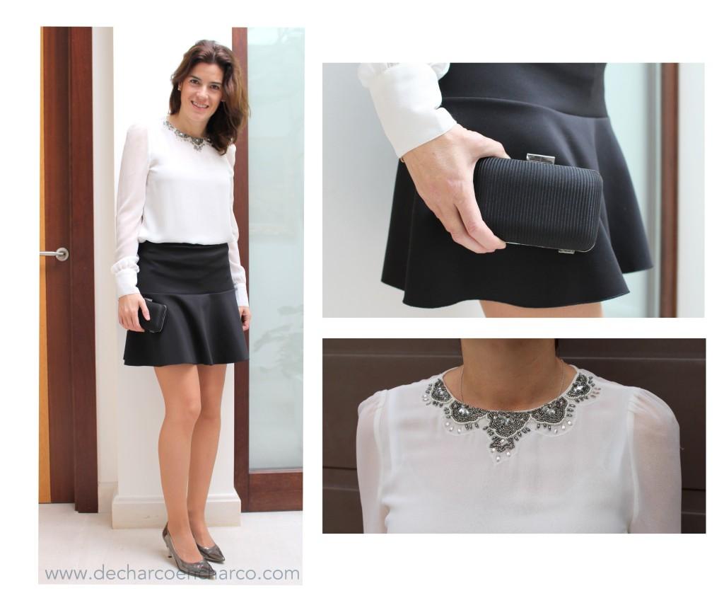 collage noche falda negro-plata www.decharcoencharco.com