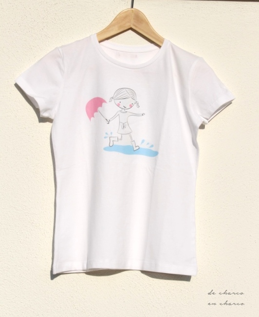 Camiseta muñeca logo DE CHARCO EN CHARCO para mujer y niña