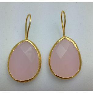 Pendientes piedra rosa Lineargent www.decharcoencharco.com