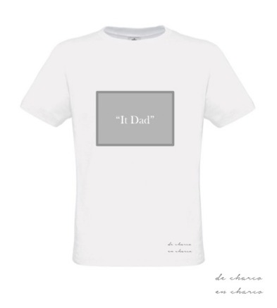 camiseta hombre it dad rectangulo gris