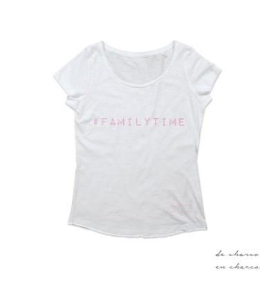 camiseta mujer familytime blanco con rosa www.decharcoencharco.com