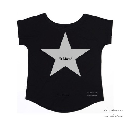camiseta mujer it mum negra estrella plateada 2 www.decharcoencharco.com