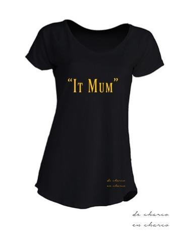 camiseta mujer negra pico IT MUM dorado www.decharcoencharco.com