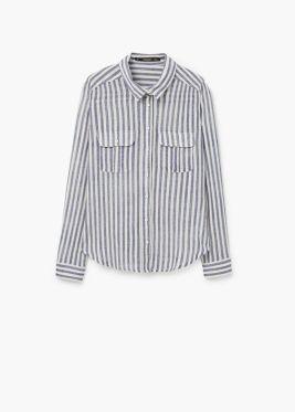 Blusa de rayas blancas y azules de MANGO. 19,99€