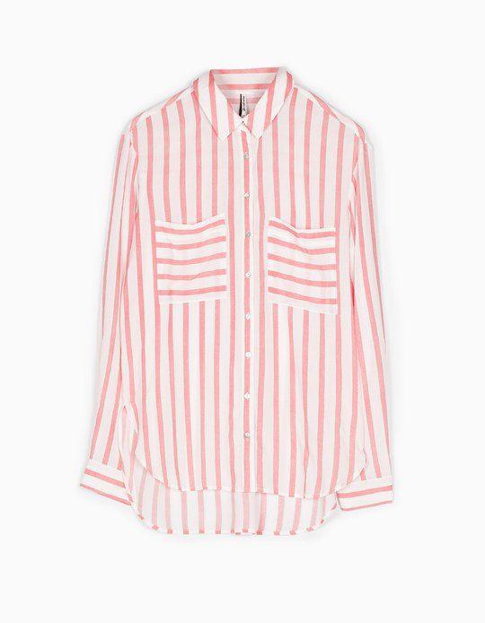 baratas venta barata ee. ajuste clásico camisa rayas stradivarius rosa www.decharcoencharco.com – DE ...