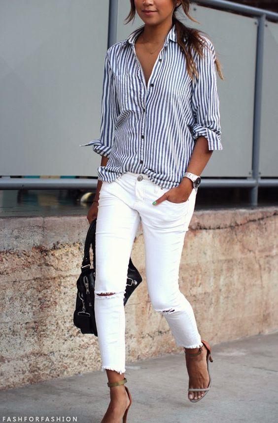 look primavera camisa rayas pantalon blanco www.decharcoencharco.com