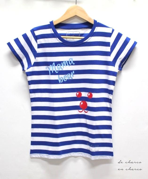 camiseta mujer rayas mama bear sin modelo www.decharcoencharco.com