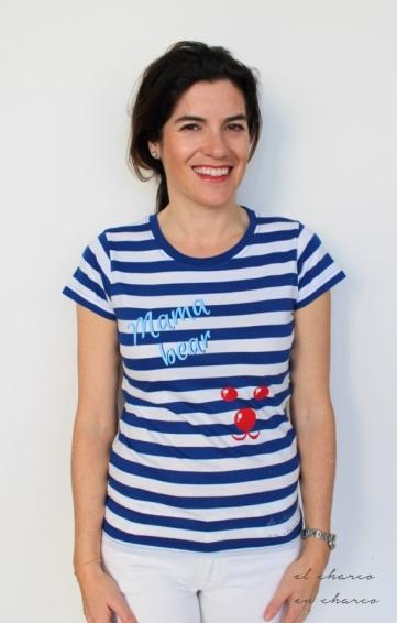 camiseta mujer rayas mama bear www.decharcoencharco.com