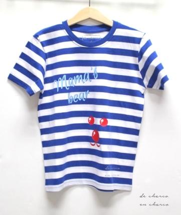 camiseta niño niña rayas mama's bear www.decharcoencharco.com