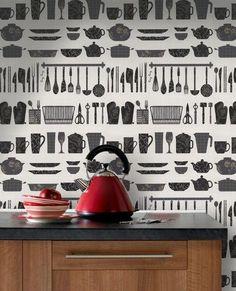 Cocina papel pintado www decharcoencharco com de charco - Papel pintado vinilico cocina ...