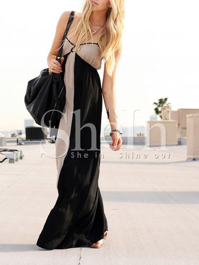 maxi dress shein beige negros www.decharcoencharco.com