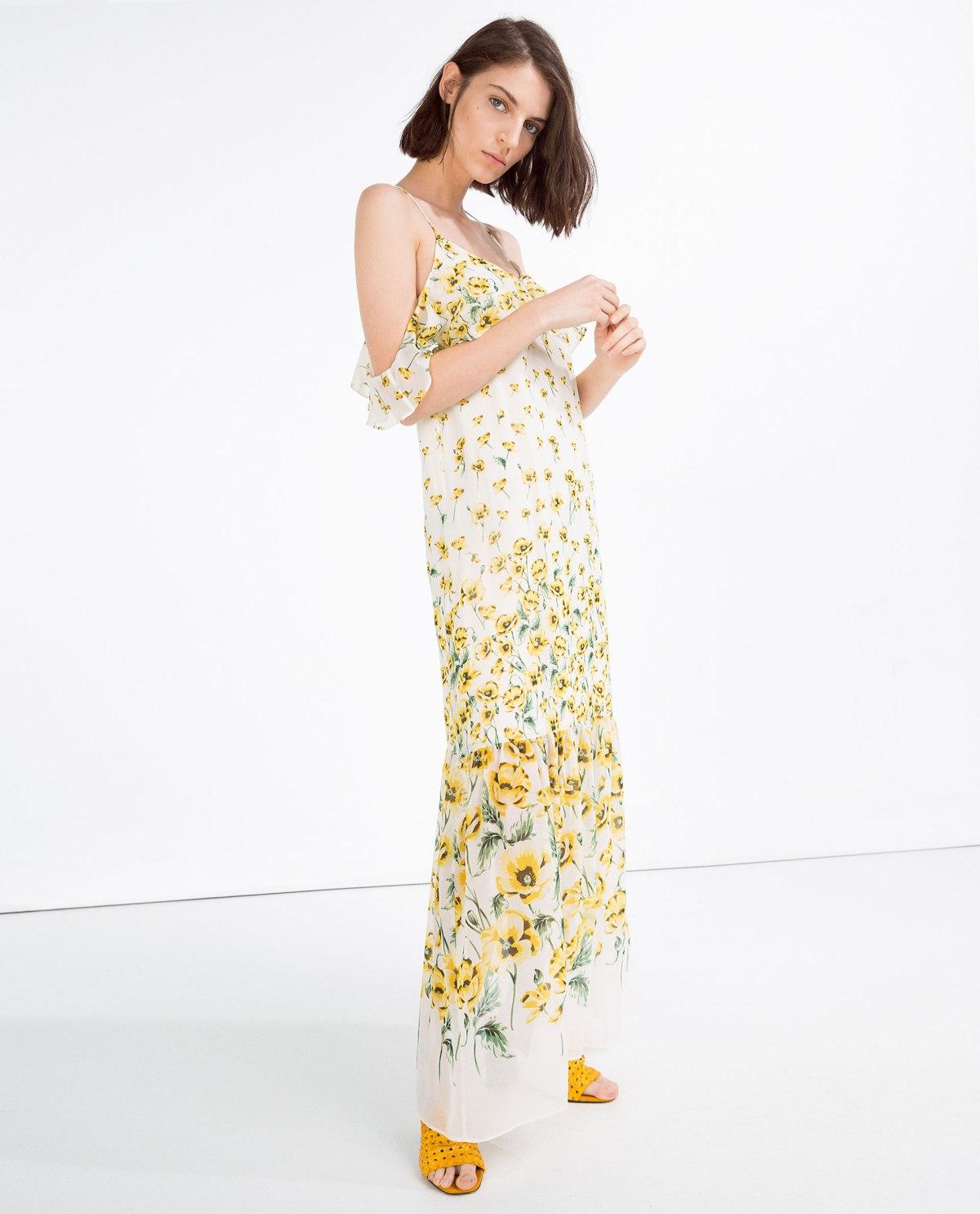 maxi dress zara flores amarillas www.decharcoencharco.com