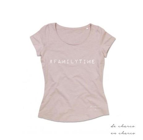 camiseta mujer familytime rosa www.decharcoencharco.com