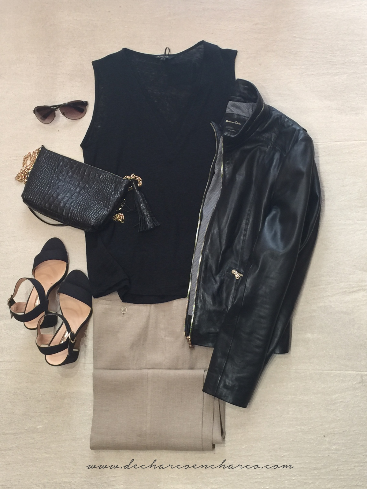 pantalones palazzo beiges conjunto negro www.decharcoencharco.com