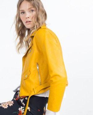 13 biker cazadora jacket amarilla zara decharcoencharco