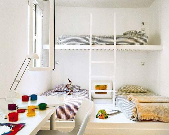 Soluciones para habitaciones infantiles cuando hay 3 - Habitaciones infantiles pequenos espacios ...